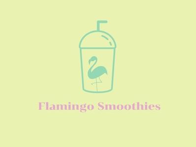 Flamingo Smoothies miami flamingo design logo illustration smoothies