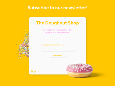 Pop up message for a doughnut store! 016 neumorphism app ux ui figma design dayliui dayli challenge