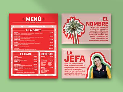 El Palmarcito Menu and Posters graphic design brand strategy branding design brand design branding brand identity design restaurant branding menu design menu poster design poster