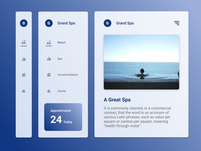 Spa Navigation Components branding minimal concept app ui ux granddesignlab design