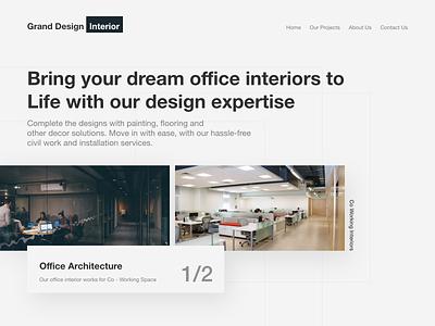 Interior Design Landin Page flat web concept minimal uiux ux granddesignlab ui landing page design interior