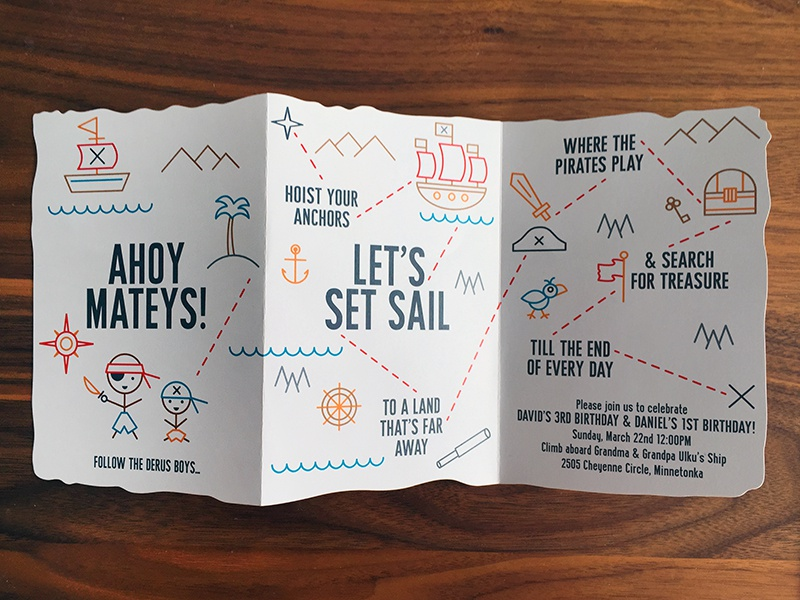 Ahoy Mateys! ahoy design invitation treasure map pirate birthday icons kids