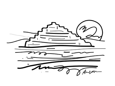 Pyramid and then i woke up pyramid sketch series illustration gestural dream drawing black and white