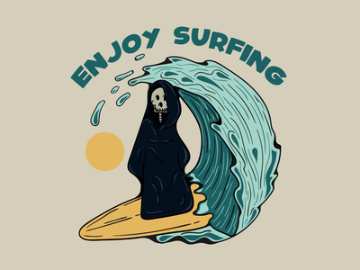 ENJOY SURFING vector logo logo design illustration brand clothing surfing clothing