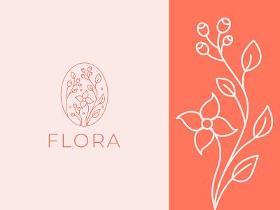 """Flora"" Botanical Logo branding design app icon logo floral girlish logo sleek logo cosmetics logo feminine floral logo minimalist logo logo design gradient logo illustration"