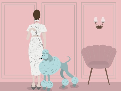 woman with dog dress chair classy womanwithdog woman dog illustration art digtalart illustrationart studying illustrator graphics digitalart motion graphics motion illustration motiongraphics illustration
