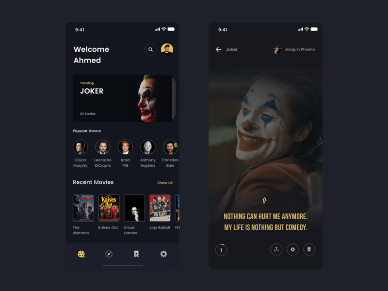 Movies quotes app concept.
