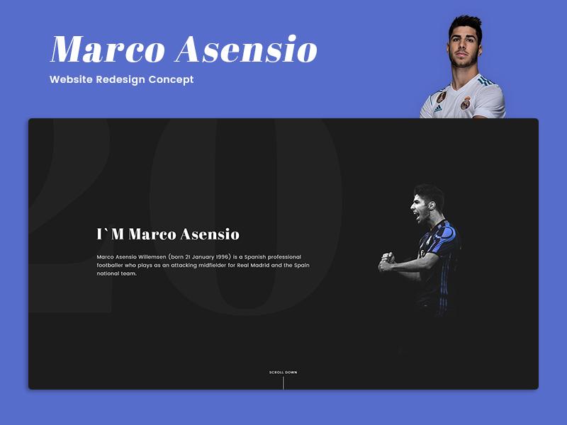 Marco Asensio - Website Redesign Concept footballer web ux ui football realmadrid marco asensio