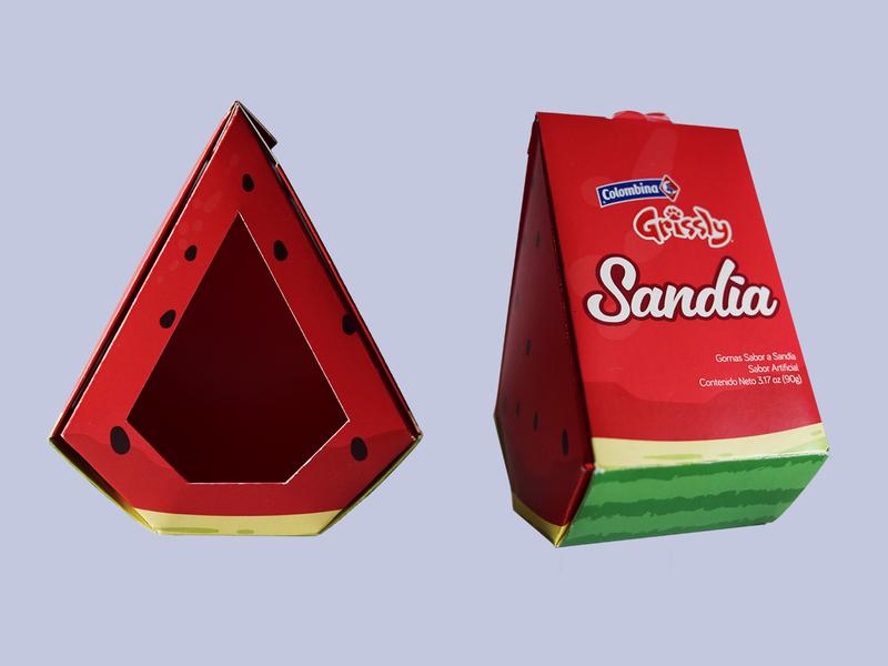 Sandía Grissly design packaging vector