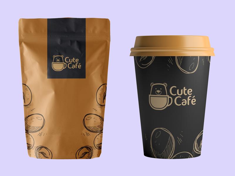 cute café logo vector packaging