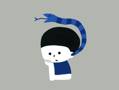 耳から蛇 illustraion boy snake
