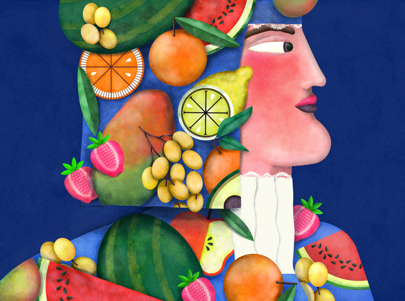 Illustration of a woman with fruits 'feeling fruits' illustration art publicity illustration woman illustration illustration editorial illustration editorial art digital art