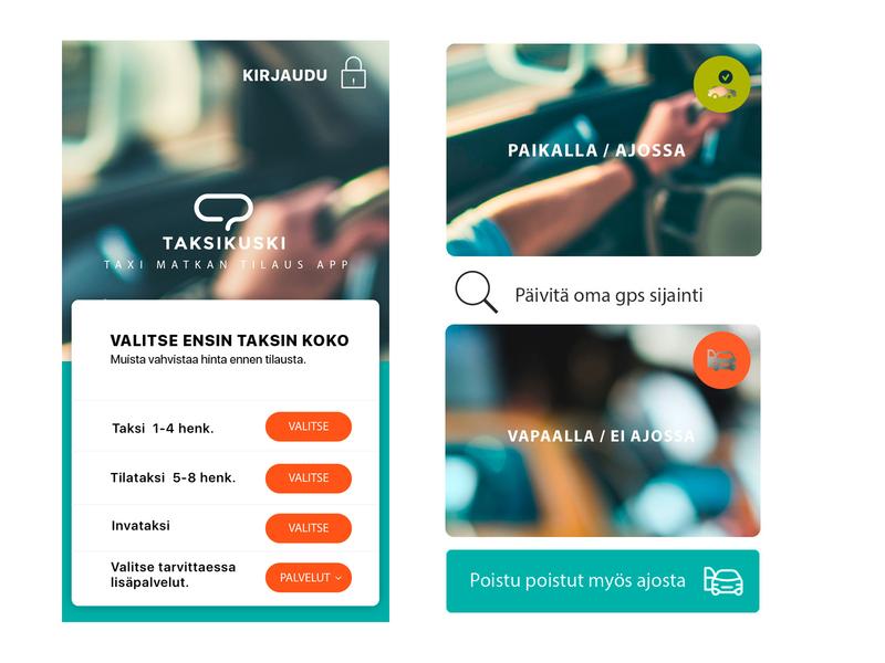 Taksikuski App minimal branding typography app ux ui design