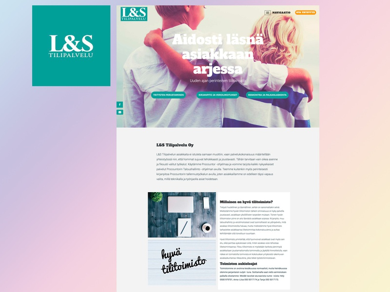 L&S Tilipalvelu minimal web wordpress logo typography design