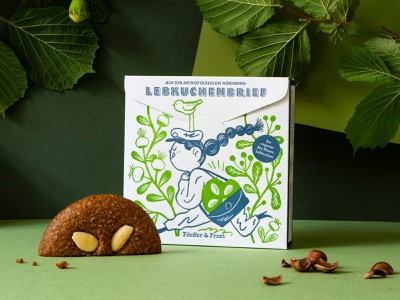 Vegan Lebkuchen Letter 2colors letterpress germany lebkuchen christmas illustration packaging package design