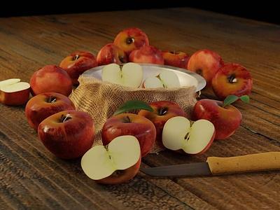 3d apple illustration 3d blender