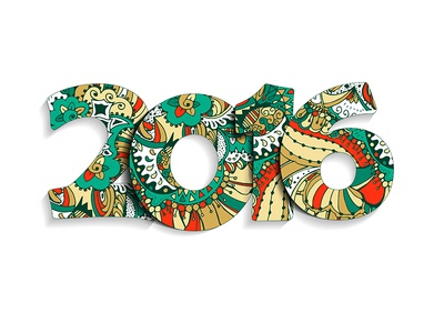 2016 Zentangle Year isolated christmas green red multicolor handdrawn doodle xmas 2016 year zentangle