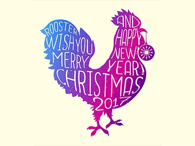 Xmas rooster lettering print colored pink silhouette cock new year 2017 xmas rooster lettering