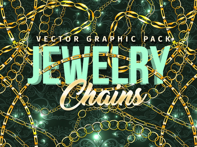Chains Jewelry Graphics Pack creativemarket brushes backdrop art bright accessory pattern fashion seamless pattern illustration golden outline hand drawn realistic vector pattern brush pack set jewelry chains
