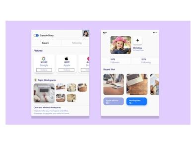 Capsule Diary App Ui Design app design design app ui  ux uiux ui design ui