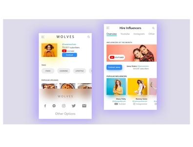 Hire Influencers  App Ui Design app design design app ui  ux uiux ui design ui