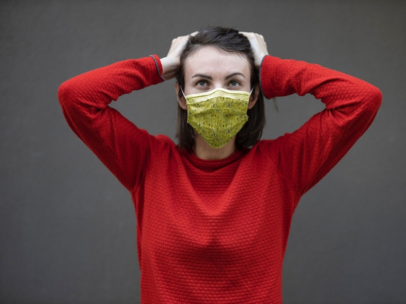 Mask Mockup With Young Woman in Red Sweater [Free PSD] free face mask mockup mockups mockup psd mock-up free download freebie psd mockup mask free psd free mockup free face mask download