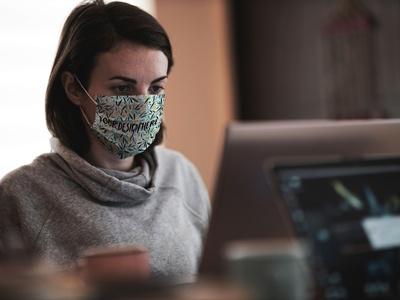 Working in Face Mask Mockup [Free PSD] mock-up mockup free psd free download freebie working work professional office mask free mockup free facemask face mask download