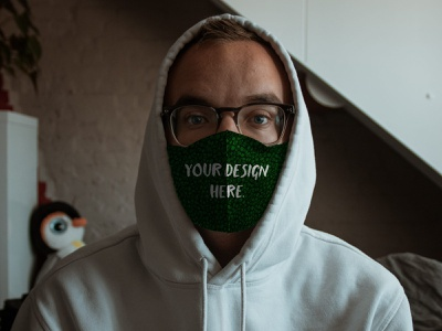 Free Mask Mockup on a Guy in a Hoodie (PSD) mask mockup mockups mockup psd mock-up free download freebie psd mockup mask free psd free mockup free face mask download