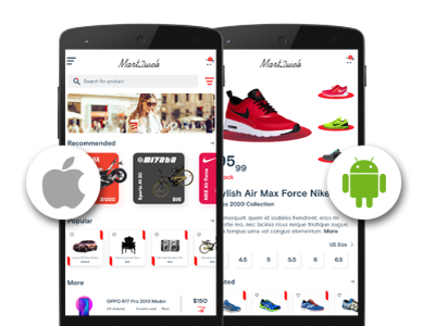 eCommerce Mobile app for iOS and Android e-commerce app development shopping app development ecommerce app development