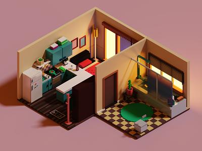 Nora's Apartment isometric room apartment voxel art magicavoxel illustration