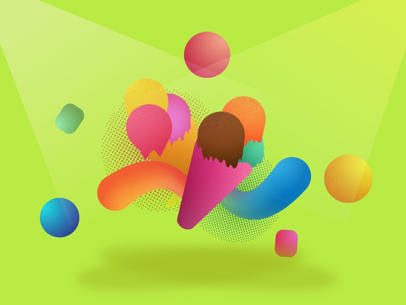 Ice-cream billboard banner poster advertisement icecream graphics ui illustration icon vector art illustrator design