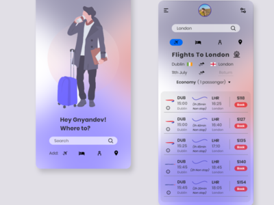 Travel Booking App Design ui uxdesign illustration adobe xd ui design mockup interaction design ui  ux design uiux design branding