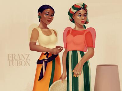 Malaya and Lualhati digital artwork digital illustration clip studio paint filipino fashion fashion illustration illustration