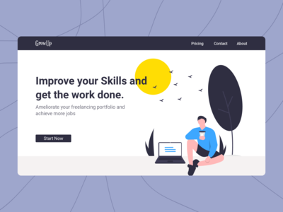 GrowUp Freelancing consultant Agency gowth work skills freelancing typography illustration logo interface design web ux ui
