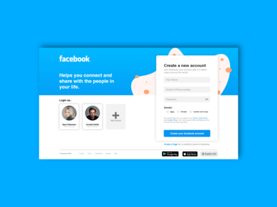 Facebook Login Redesign web interface illustration design ux create account login page facebook