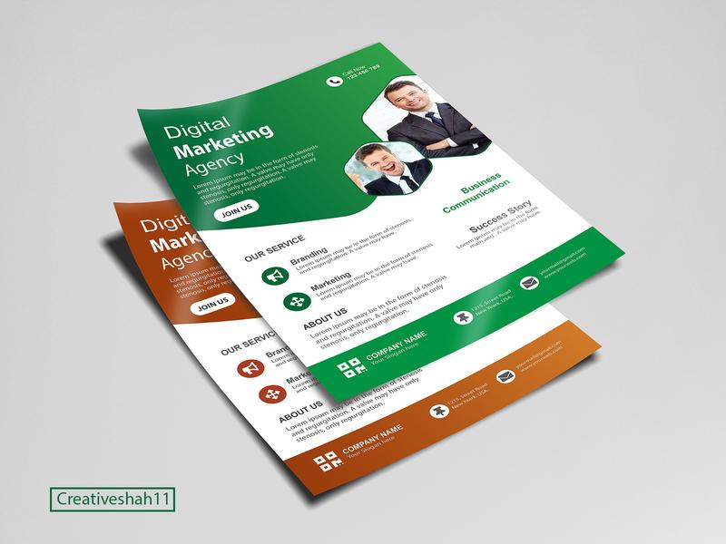 Digital marketing Agency Corporate A4 Flyer design Template orange green modern clean design creative design concept minimal marketing agency corporate corporate flyer vector facebook sale marketing branding