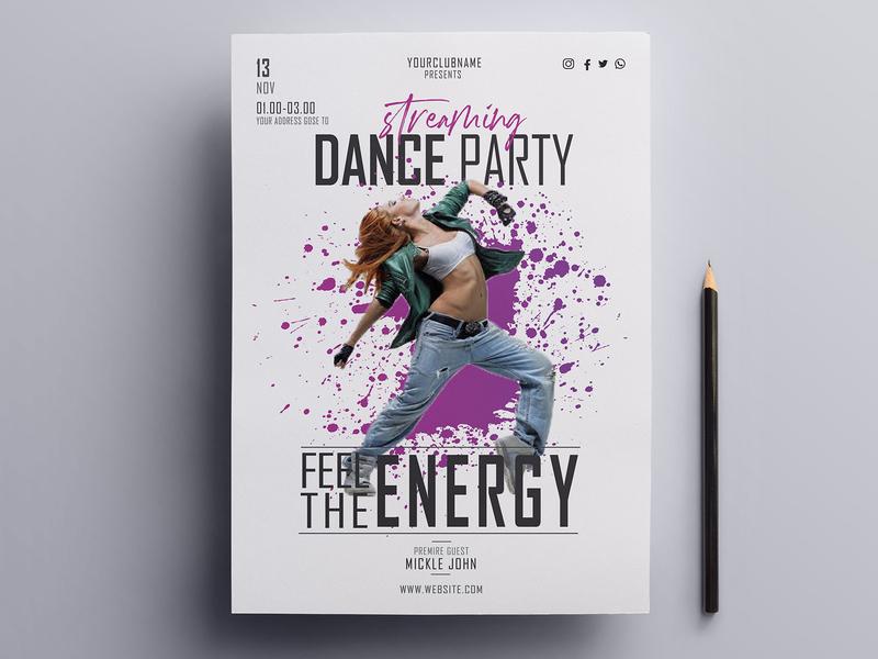 Dj Dance Party Print Ready Flyer Design Template print flyer design print design a4 flyer night party night nightclub party party flyer party hat music dance dance party dj fashion