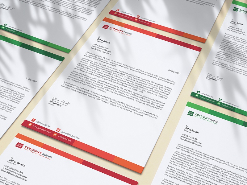 A4 Letterhead Template institution education company branding lettering business modern design personal letterhead template letterhead design letterhead