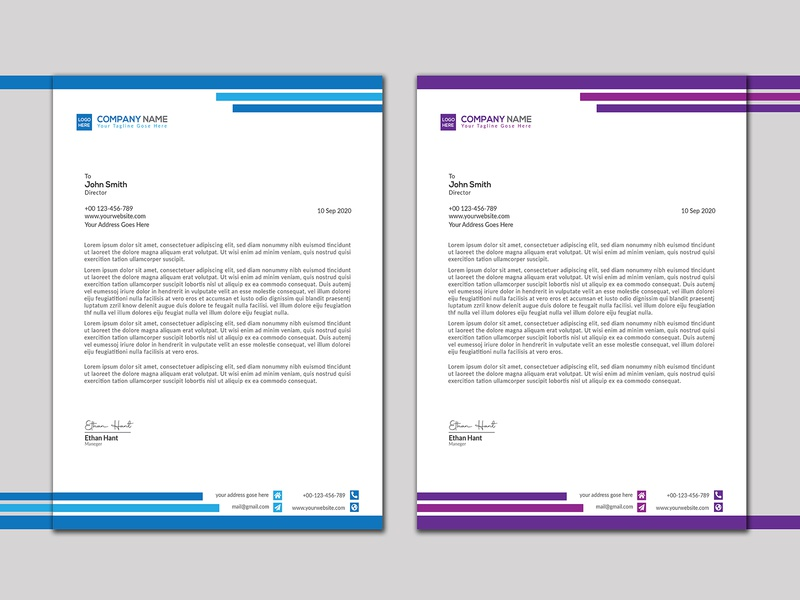 Green and purple Letterhead Design company creative clean white letter size a4 size education graphic design letterhead purple gradient green