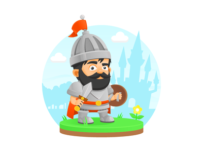 Medieval warrior illustration vector character honor shield flag sword medieval castle warrior