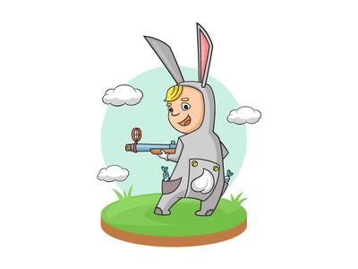 Bunny boy animal summer sweat gun children candy halloween illustration character vector bunny boy