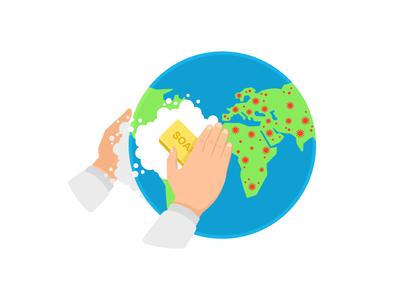 We wash the planet of the coronavirus illustration vector epidemic pandemic earth planet sticker corona washing hands hands virus covid coronavirus