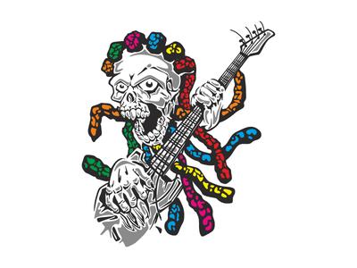 Skull music guitar illustration halloween vector character dreads music guitar skull