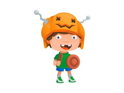 Halloween warrior illustration warrior shield sword helmet pumpkin halloween boy character