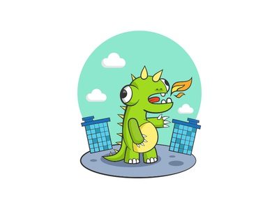 Godzilla dinosaur monster city illustration vector character fire dragon godzilla