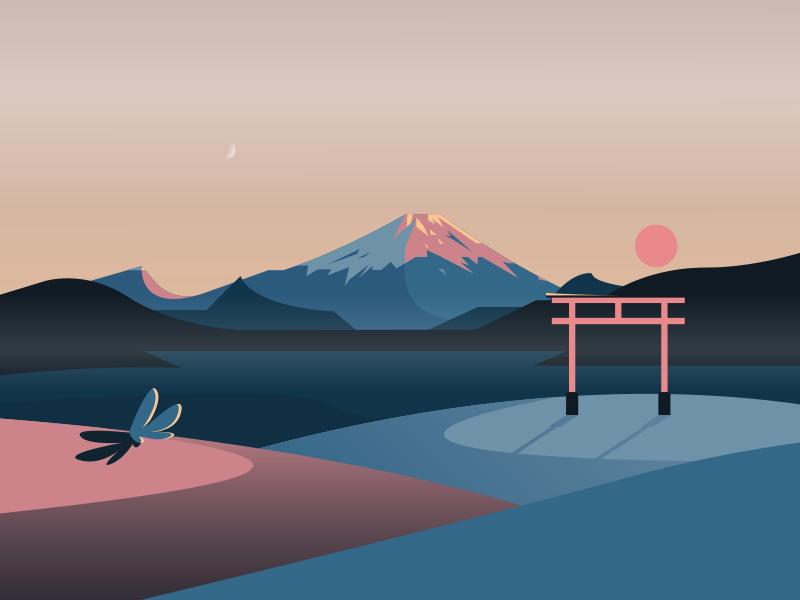 Japanese Landscape tori mist moon sunset sun landscape lake mountain fuji japan