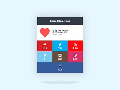 Flat Social Widget flat widget box social pinterest twitter youtube vimeo instagram dribbble facebook interactions