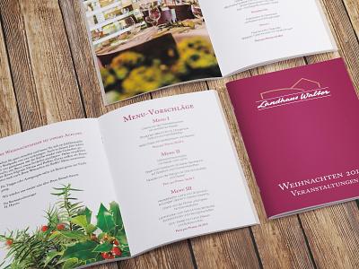 Company Christmas Events Booklet helvetica neue caslon bordeaux booklet restaurant christmas