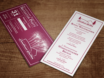 Christmas Menu + New Year's Eve Party Ticket menu christmas new years ticket flyer restaurant print caslon helvetica neue