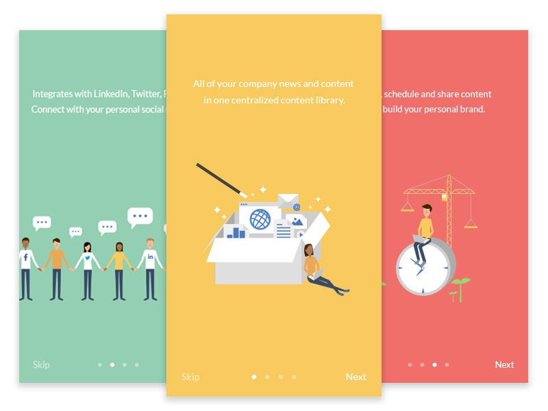 App Onboarding Mockup onboarding ui ui onboarding screen onboard illustration postbeyond pastel colour icon flat icon flat design